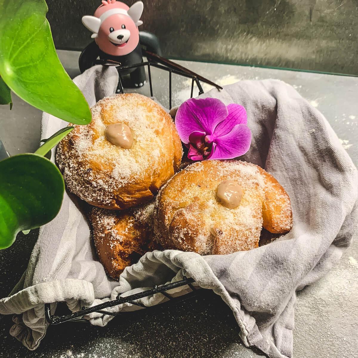 Strawberry-Vanilla Portuguese Doughnuts (Malasadas)